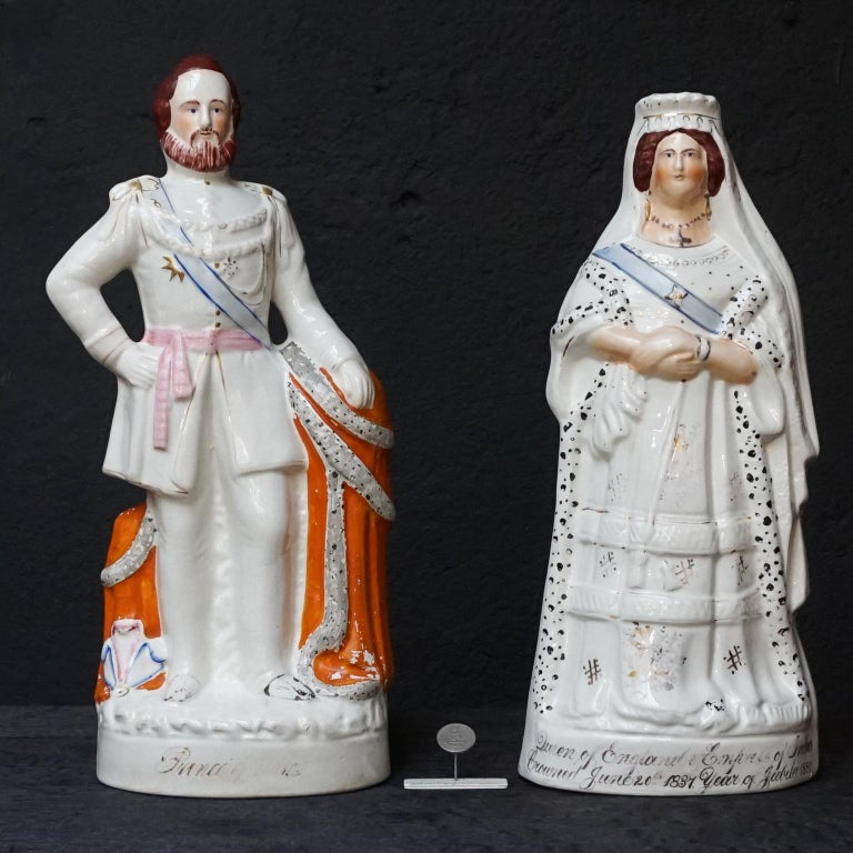 Large Victorian Staffordshire Figurines of Queen Victoria and Prince Albert For Sale 1