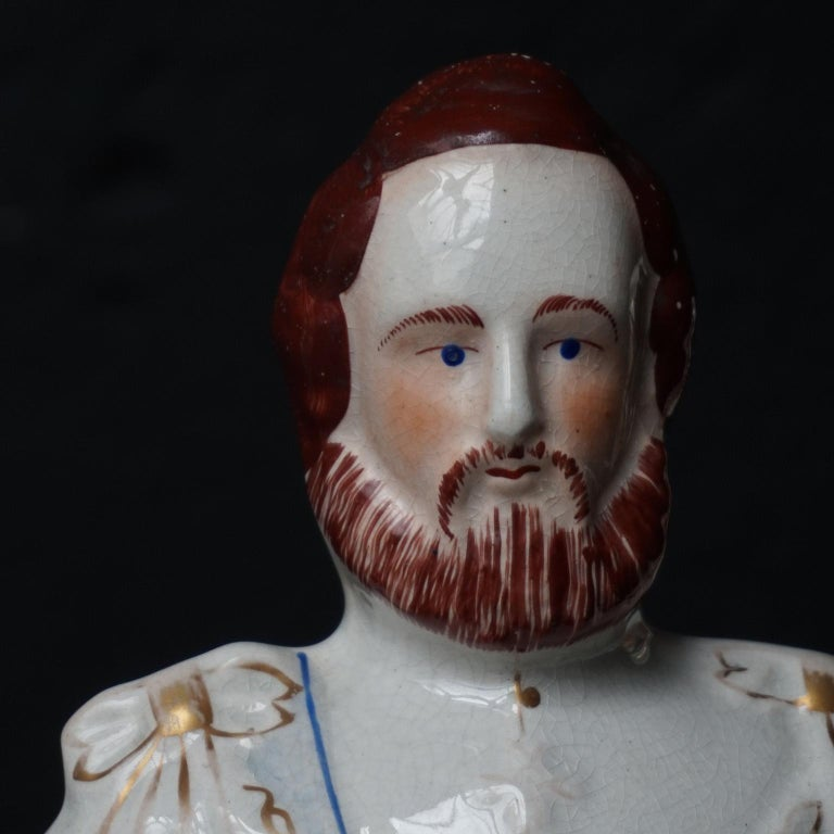 Large Victorian Staffordshire Figurines of Queen Victoria and Prince Albert For Sale 3