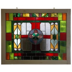 Large Victorian Stained and Textured Glass Window
