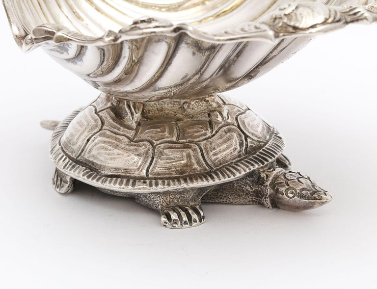 Large Victorian Sterling Silver Turtle with Seashell Salt Cellar, J.E. Caldwell For Sale 12