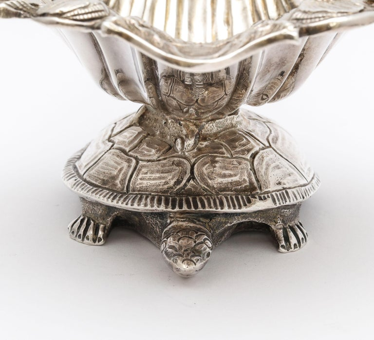 Large Victorian Sterling Silver Turtle with Seashell Salt Cellar, J.E. Caldwell For Sale 14