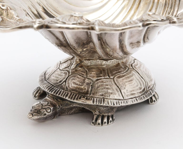 Large Victorian Sterling Silver Turtle with Seashell Salt Cellar, J.E. Caldwell For Sale 15