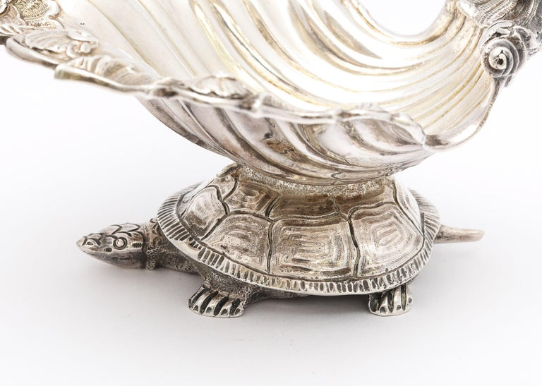 American Large Victorian Sterling Silver Turtle with Seashell Salt Cellar, J.E. Caldwell For Sale