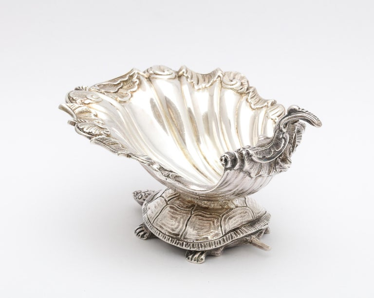 Large Victorian Sterling Silver Turtle with Seashell Salt Cellar, J.E. Caldwell In Good Condition For Sale In New York, NY