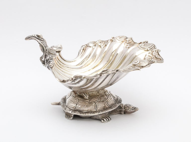 Large Victorian Sterling Silver Turtle with Seashell Salt Cellar, J.E. Caldwell For Sale 2