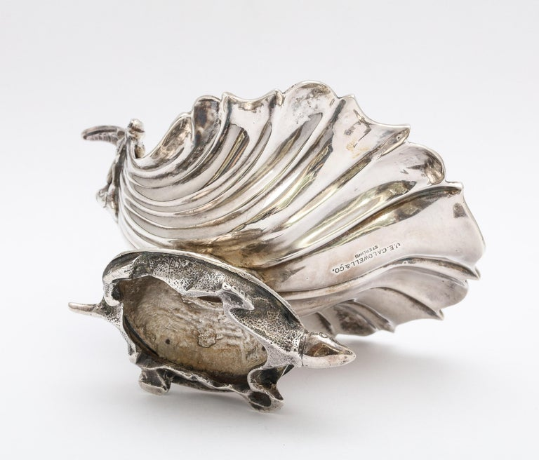 Large Victorian Sterling Silver Turtle with Seashell Salt Cellar, J.E. Caldwell For Sale 4