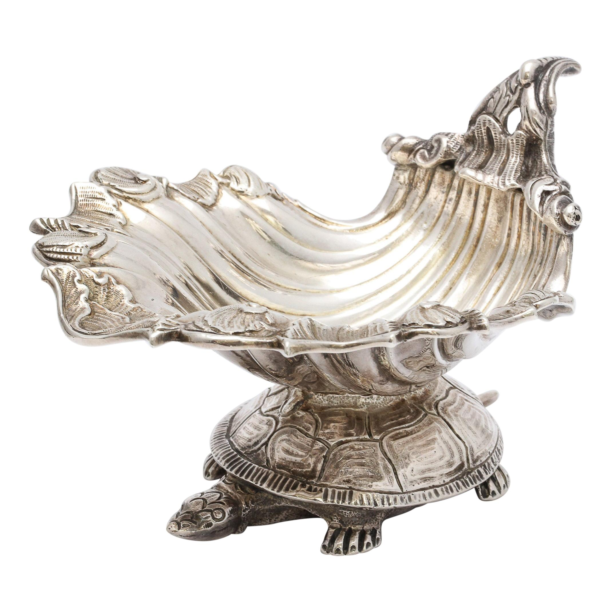 Large Victorian Sterling Silver Turtle with Seashell Salt Cellar, J.E. Caldwell