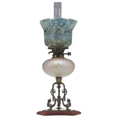 Large Victorian Stevens & Williams Duplex Oil Lamp, circa 1880