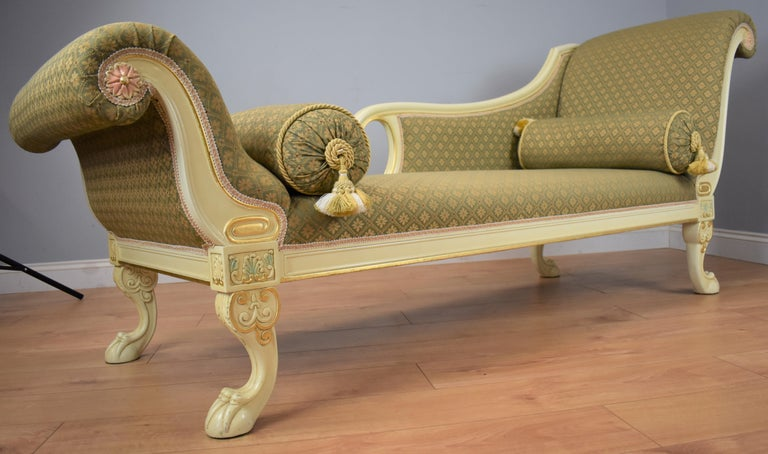 Regency Large Victorian Style Chaise For Sale