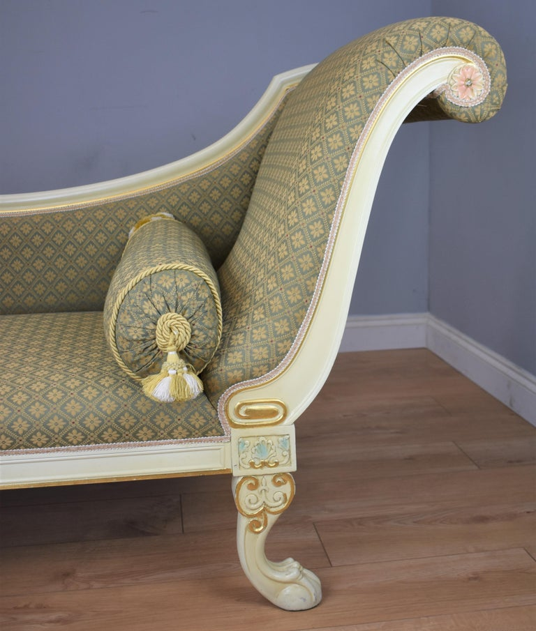 Hand-Painted Large Victorian Style Chaise For Sale