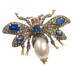 Large Victorian Style Silver Gold Diamond Sapphire Articulated Bug Pin Brooch