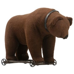 Large Victorian Toy Bear Pull Ride, circa 1900