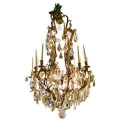Large Vienna Crystal and Gilt Bronze Chandelier with 14-Light