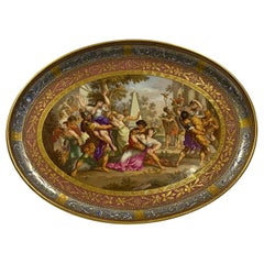 Large Vienna Porcelain Dish, Abduction of the Sabine, circa Late 19th Century