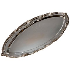 Large Viennese Art Nouveau Silver Platter in the Shape of a Boat, circa 1900