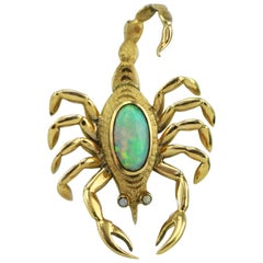 Large Vintage 14 Karat Gold Scorpion Natural Opal Brooch Pin with Opal Eyes