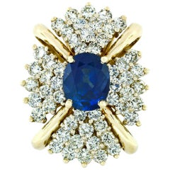 Large Vintage 14k Gold 6.24ctw GIA Oval Ceylon Sapphire & Diamond Cocktail Ring