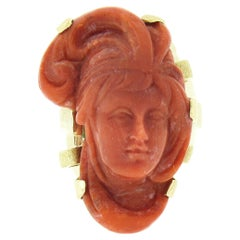 Large Vintage 14k Gold GIA No Dye Coral Carved Lady's Face Cameo Statement Ring