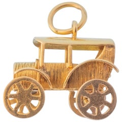 Large Vintage 18 Karat Car Charm Pendant