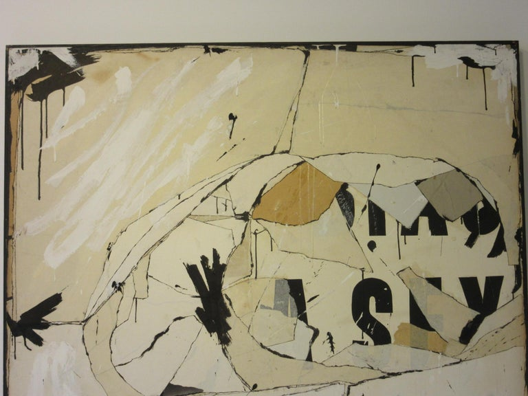 A large vintage contemporary painting - collage piece by female artist Jeri Summers (1926-2018) done in the 1960s titled