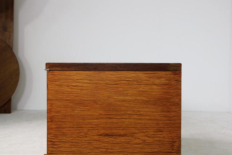 Large Vintage 1960s Sideboard Credenza, Belgium, Reversible Doors, Metal Base 4