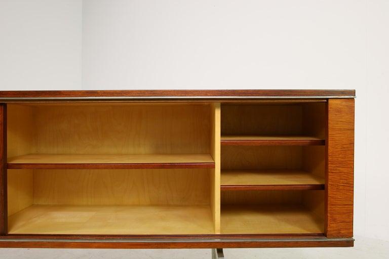 Large Vintage 1960s Sideboard Credenza, Belgium, Reversible Doors, Metal Base 5