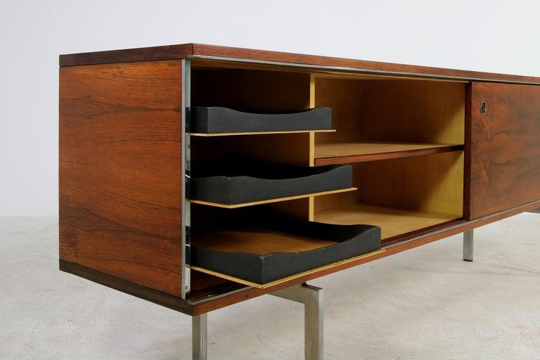 Large Vintage 1960s Sideboard Credenza, Belgium, Reversible Doors, Metal Base 6