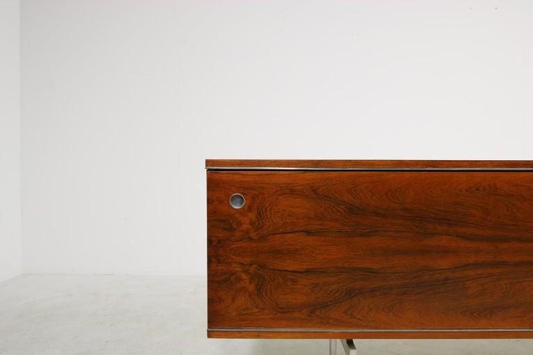 Large Vintage 1960s Sideboard Credenza, Belgium, Reversible Doors, Metal Base 8