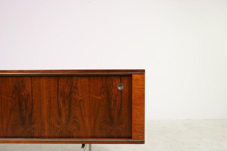 Large Vintage 1960s Sideboard Credenza, Belgium, Reversible Doors, Metal Base 9