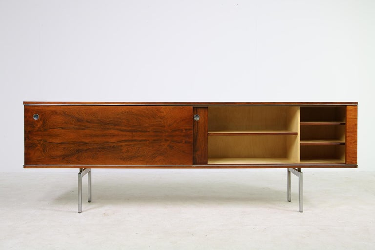 Mid-Century Modern Large Vintage 1960s Sideboard Credenza, Belgium, Reversible Doors, Metal Base