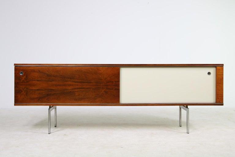 Belgian Large Vintage 1960s Sideboard Credenza, Belgium, Reversible Doors, Metal Base