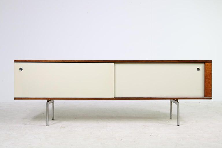Large Vintage 1960s Sideboard Credenza, Belgium, Reversible Doors, Metal Base In Good Condition In Hamminkeln, DE