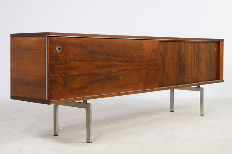 Large Vintage 1960s Sideboard Credenza, Belgium, Reversible Doors, Metal Base 1