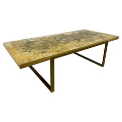 Large Vintage 1970s French Mosaic Marble and Onyx Coffee Table