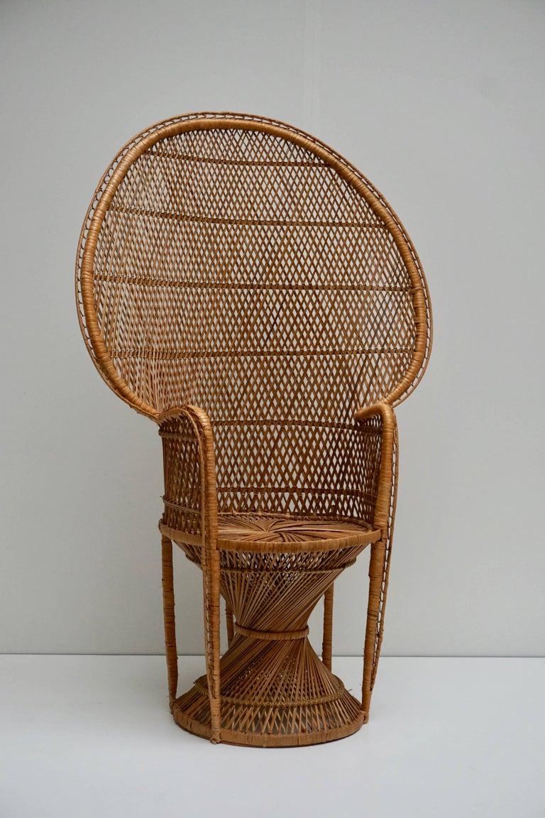 Large Vintage 1970s Wicker Emmanuel/Peacock Armchair For Sale 5