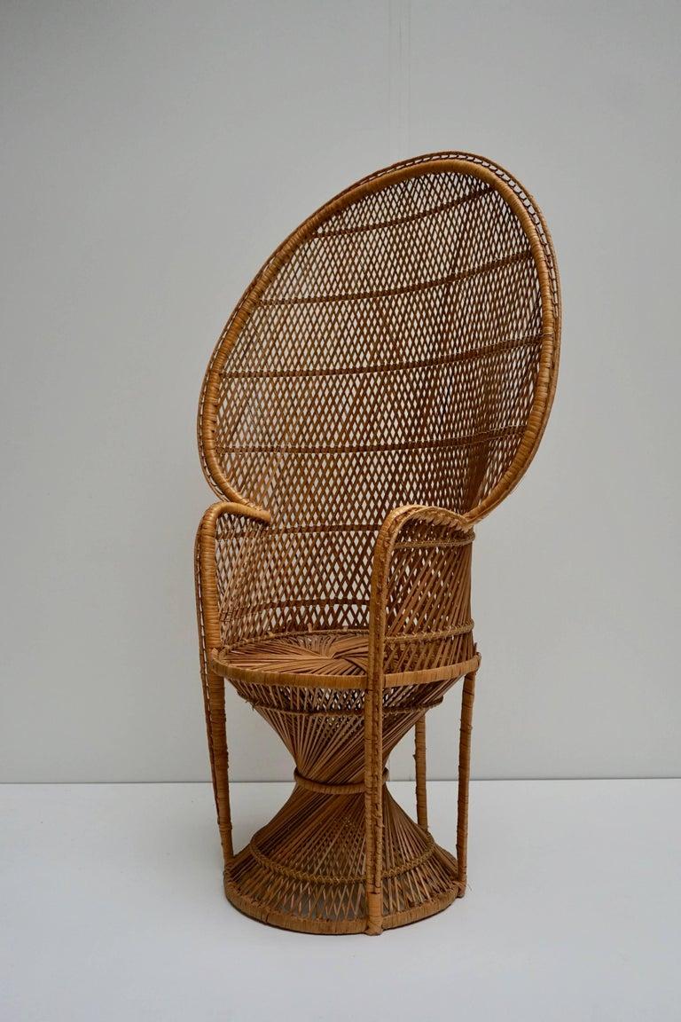Large Vintage 1970s Wicker Emmanuel/Peacock Armchair For Sale 6