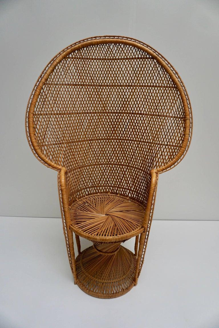 Large Vintage 1970s Wicker Emmanuel/Peacock Armchair For Sale 7
