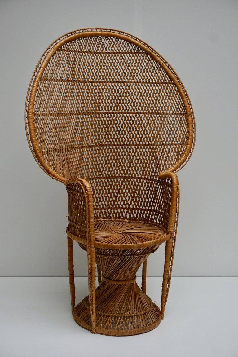 Large Vintage 1970s Wicker Emmanuel/Peacock Armchair For Sale 10
