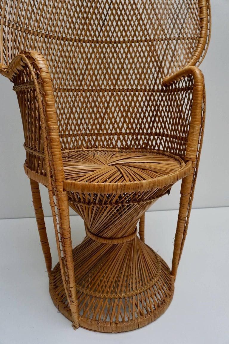 Large Vintage 1970s Wicker Emmanuel/Peacock Armchair For Sale 12