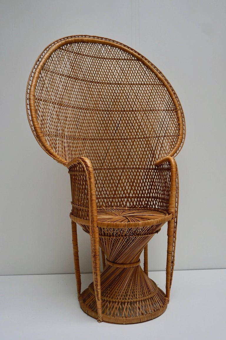 A large vintage Bohemian high-quality wicker emmanuel/peacock chair. The emmanuel/peacock chair made famous in the 1974 by the actress Sylvia Kristel on the move 'Emmanuel'. Sylvia Kristel was sitting half naked in one of those wicker peacock