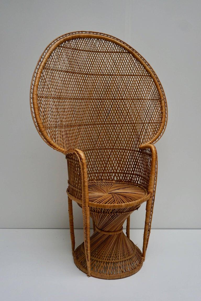 Mid-Century Modern Large Vintage 1970s Wicker Emmanuel/Peacock Armchair For Sale