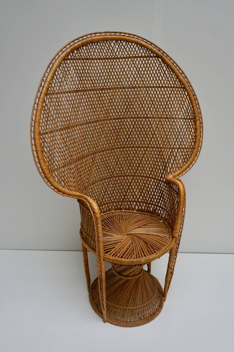 French Large Vintage 1970s Wicker Emmanuel/Peacock Armchair For Sale