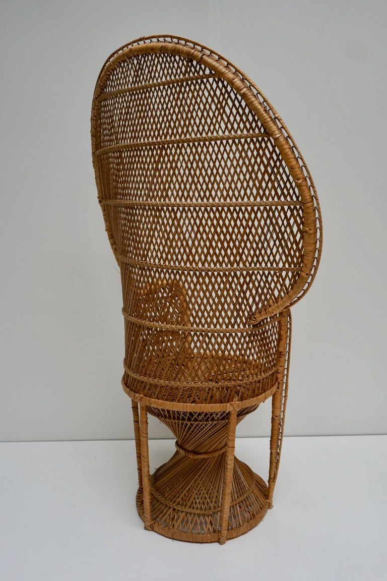 Large Vintage 1970s Wicker Emmanuel/Peacock Armchair In Good Condition For Sale In Antwerp, BE
