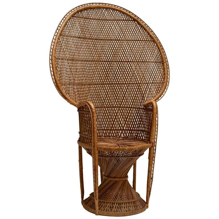 Large Vintage 1970s Wicker Emmanuel/Peacock Armchair For Sale