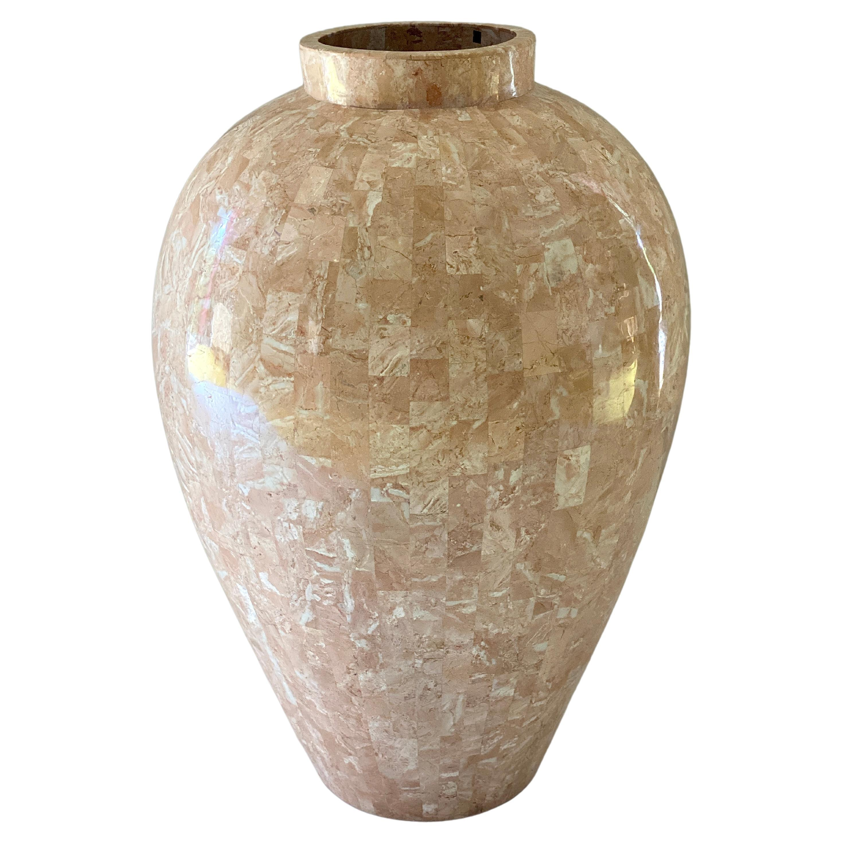 Large Vintage 1980s Maitland Smith Tessellated Stone Vase