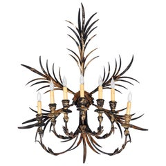Large Vintage 7-Light Iron and Wood Wall Sconce, Italy