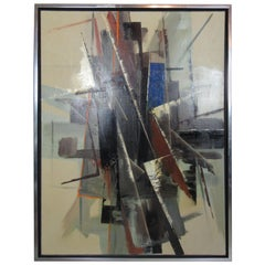 Large Vintage Abstract Painting