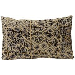 """Large Vintage African """"Shoowa"""" Raffia Velvet Bolster Decorative Pillow"""