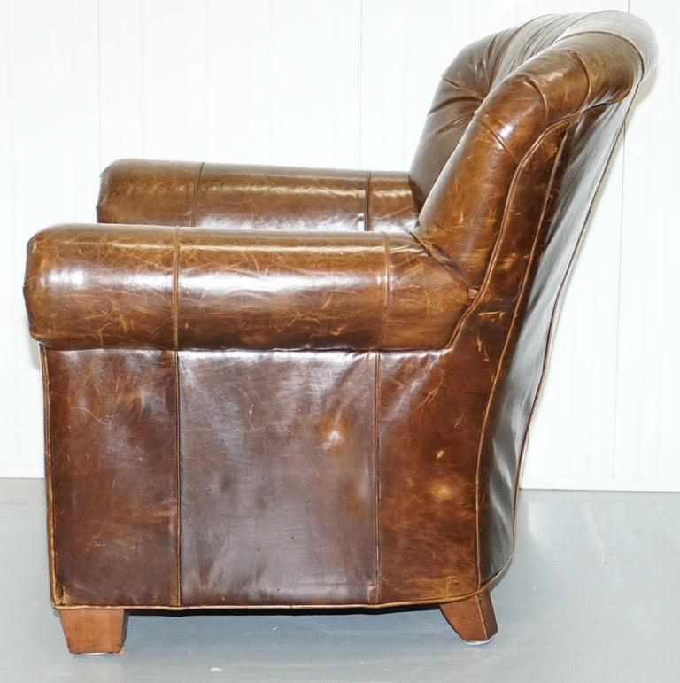 Large Vintage Aged Brown Leather Ralph Lauren Club ...