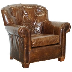 Large Vintage Aged Brown Leather Ralph Lauren Club Armchair Heritage Upholstery